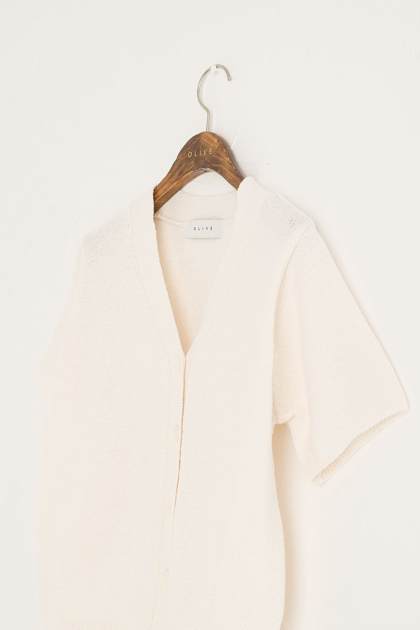 Miro Short Sleeve Cardigan, Ivory