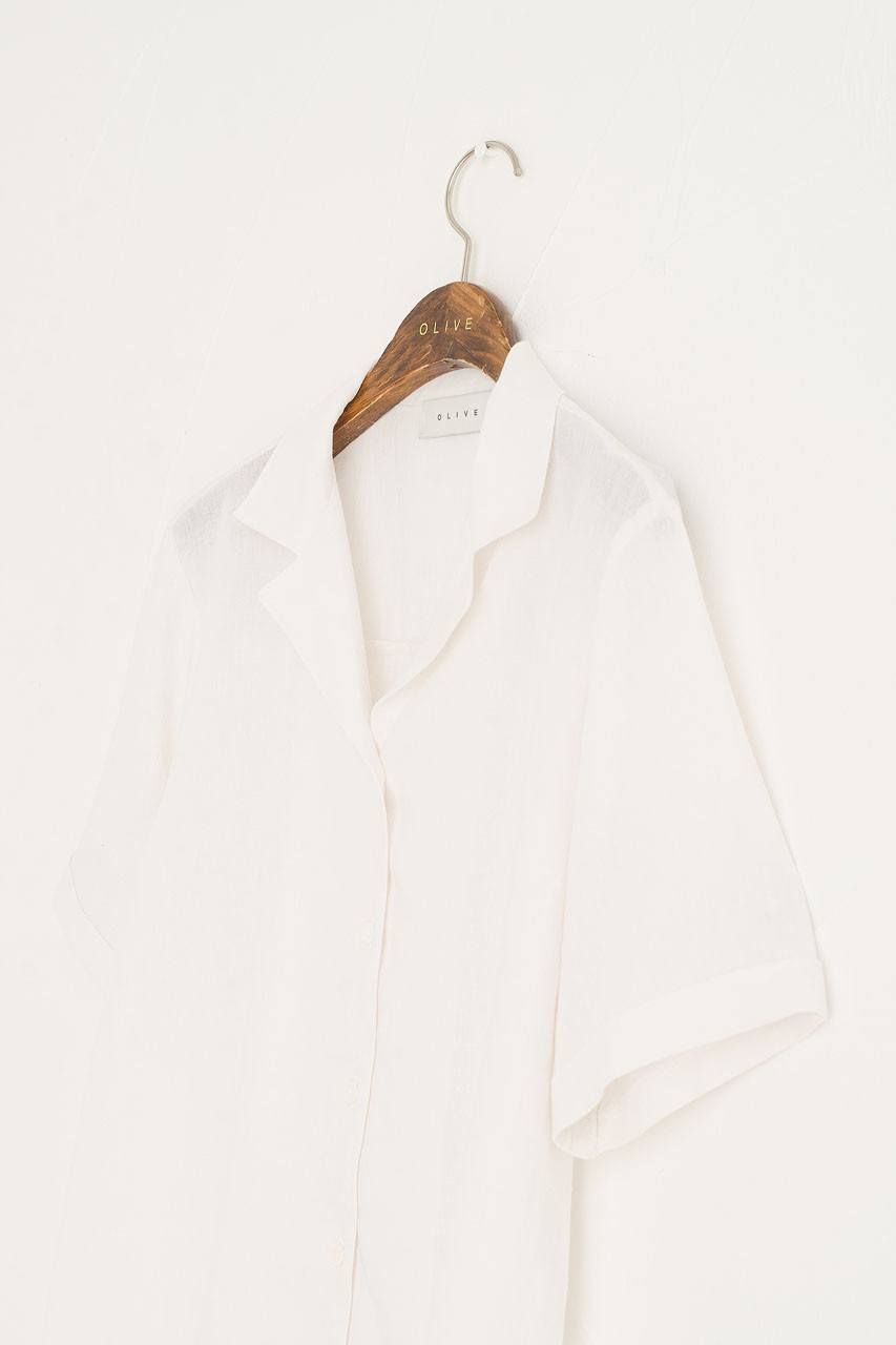 Simple Camp Collar Shirt, Ivory
