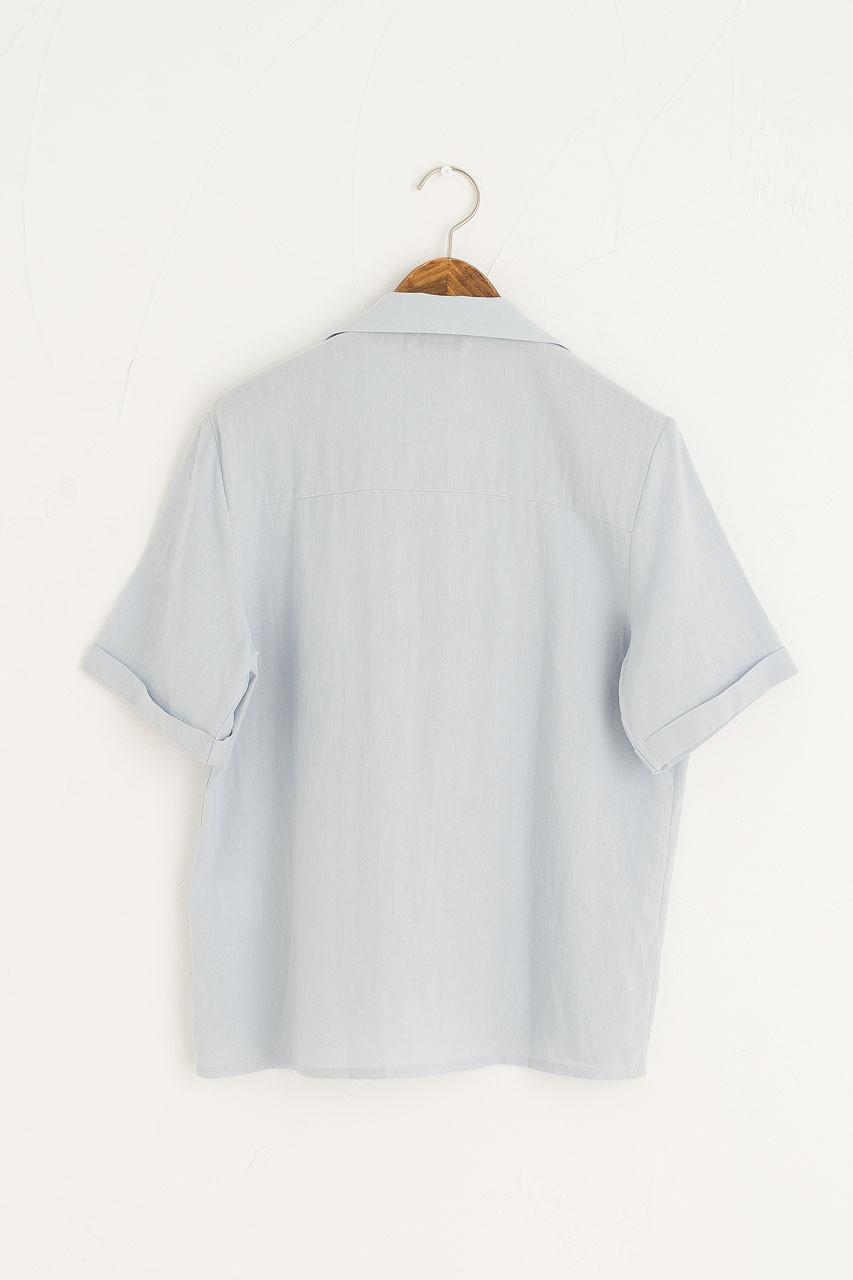 Simple Camp Collar Shirt, Blue