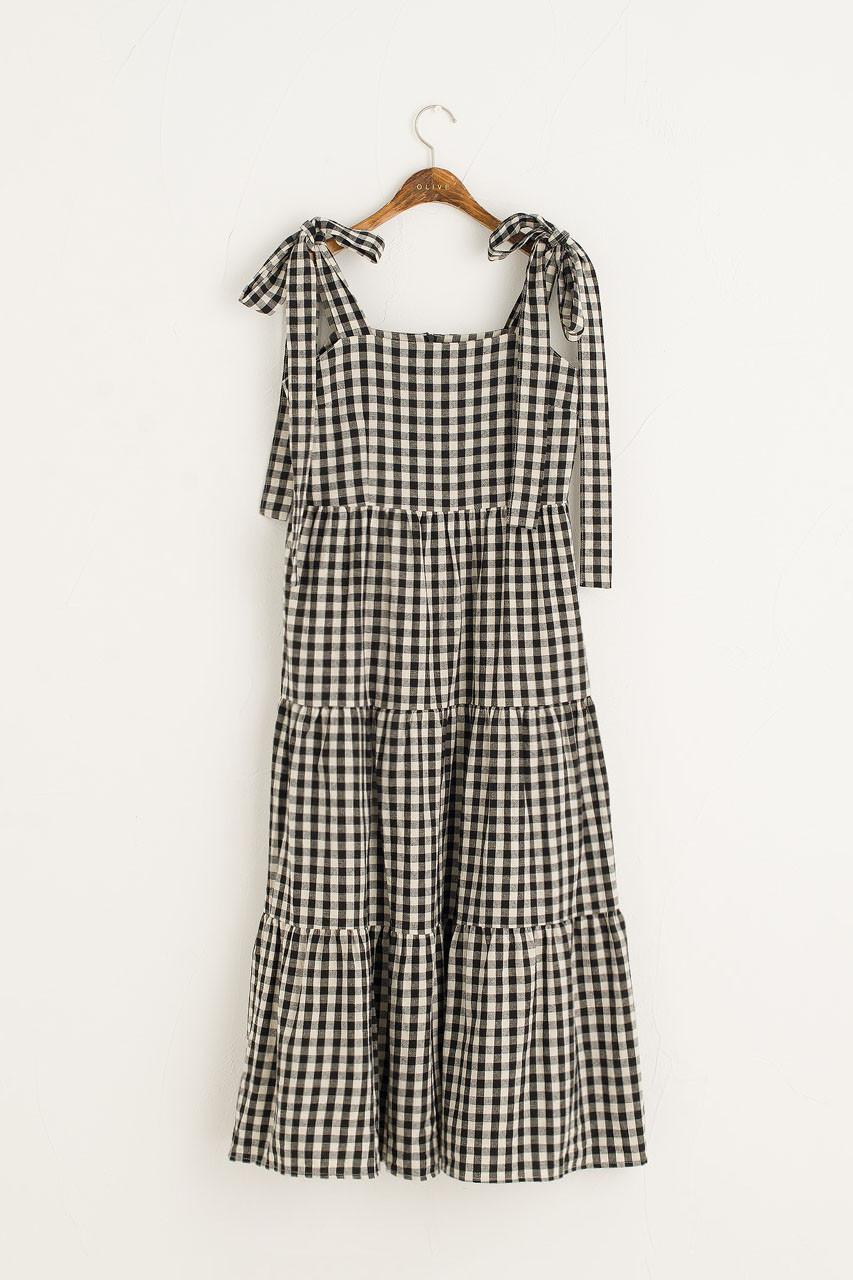 Belle Gingham Ribbon Dress, Black