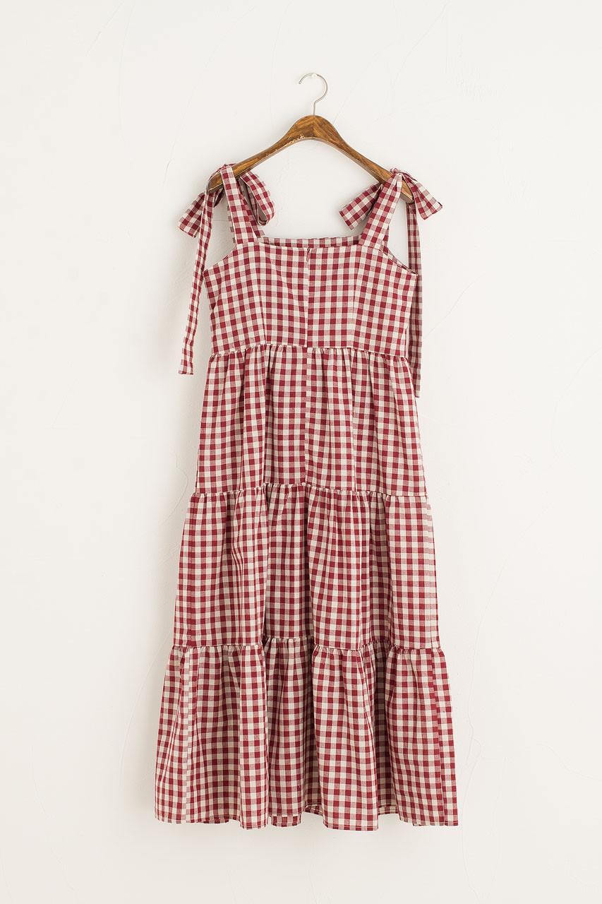 Belle Gingham Ribbon Dress, Cherry