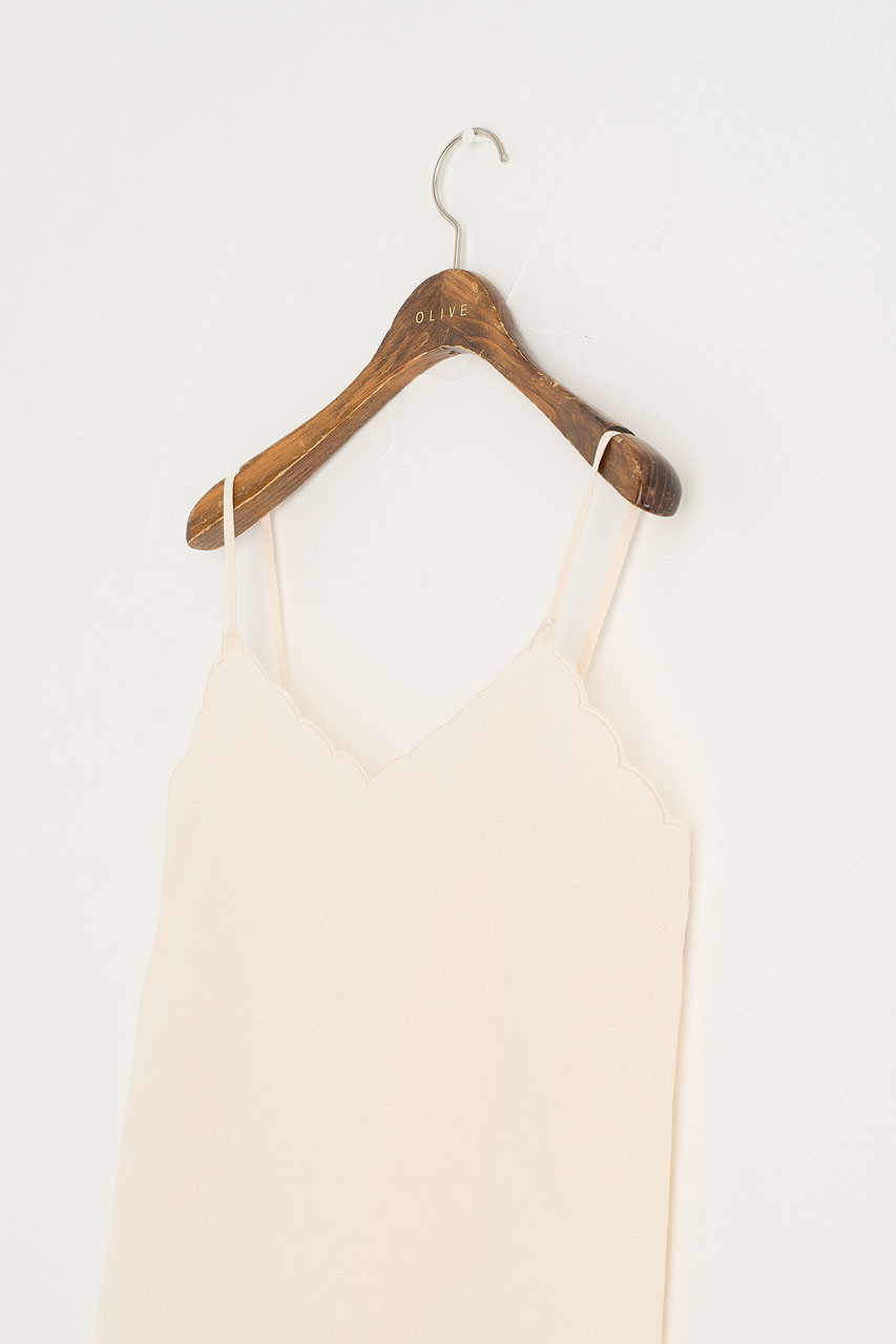 Scallop Neck Slip Top, Ivory