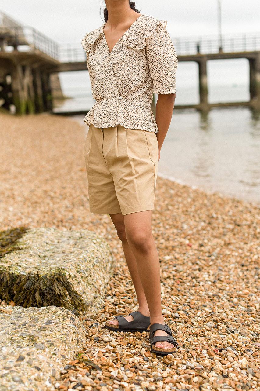Roa Pintuck Cotton Shorts, Beige