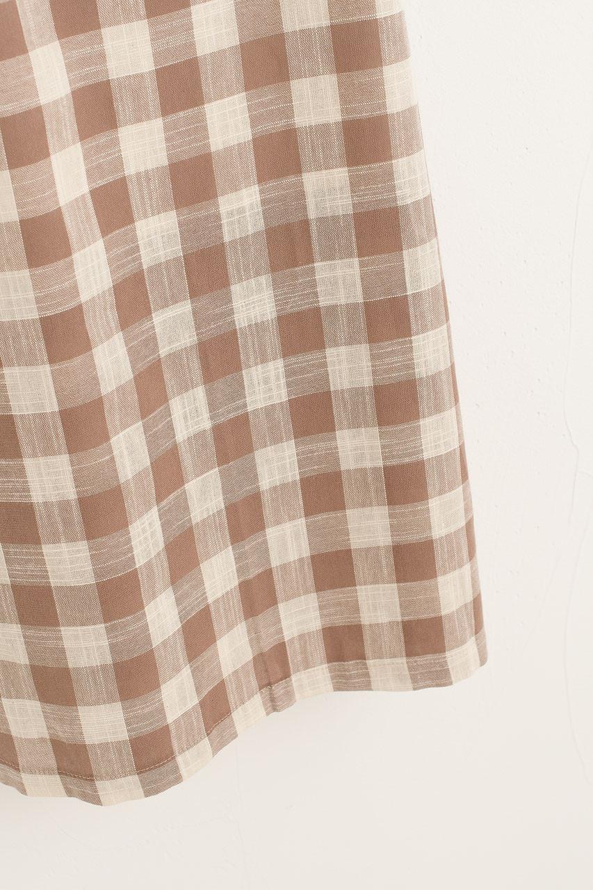 Gingham Check Puff Sleeve Dress, Beige