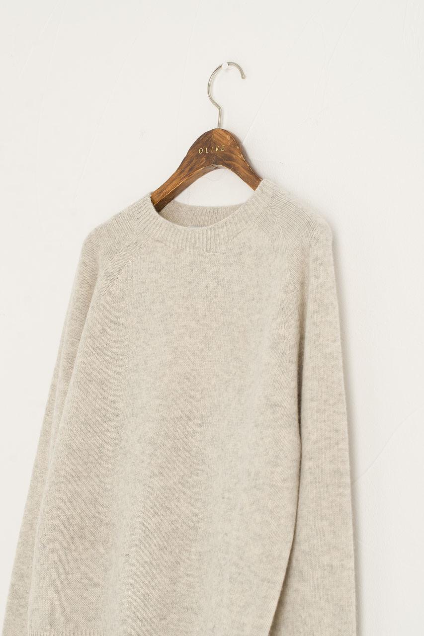 Wool Cashmere Raglan Jumper, Light Grey