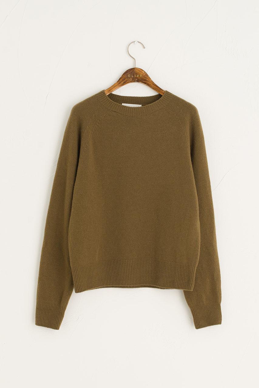 Wool Cashmere Raglan Jumper, Khaki
