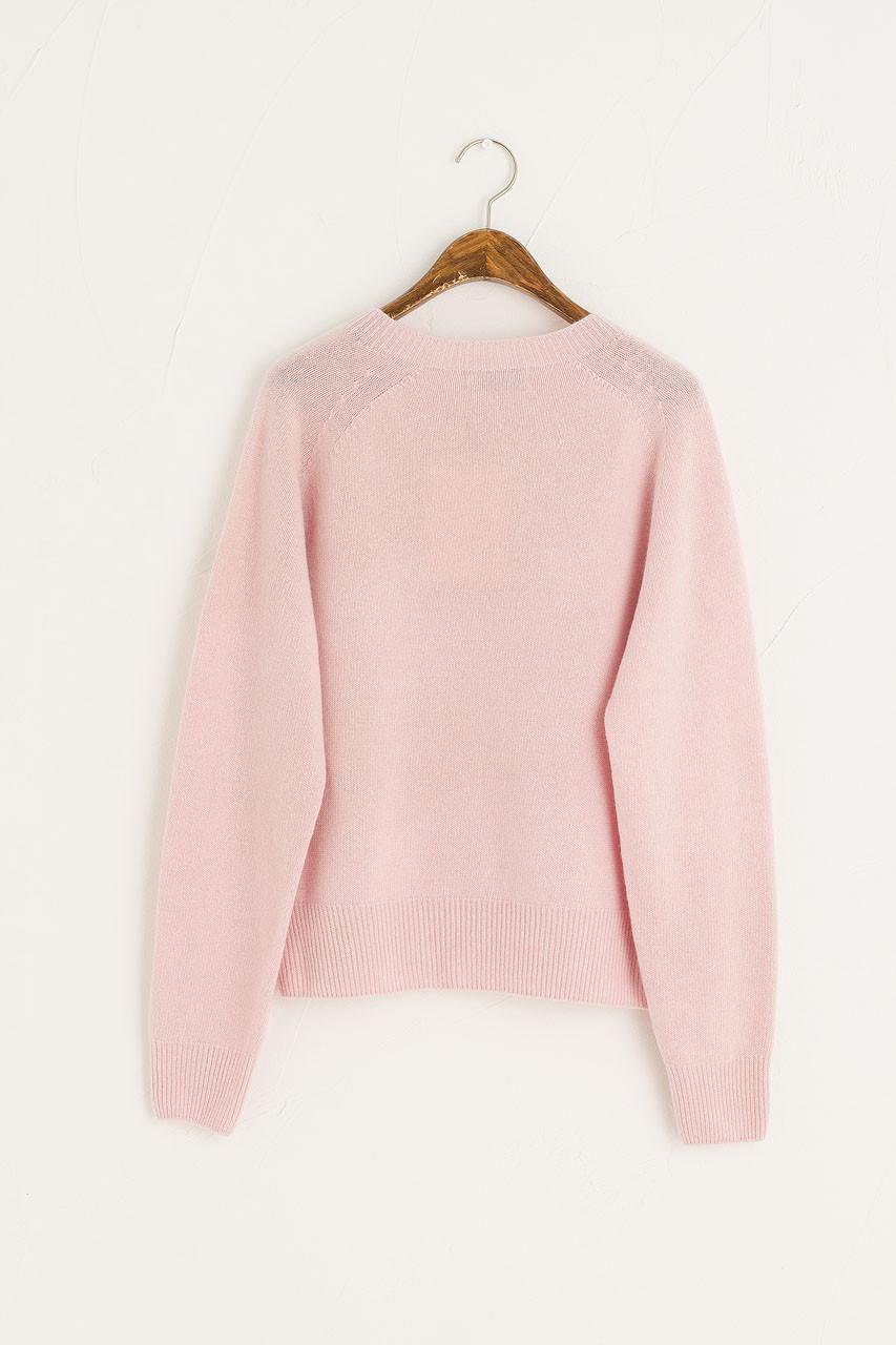 Wool Cashmere Raglan Jumper, Light Pink