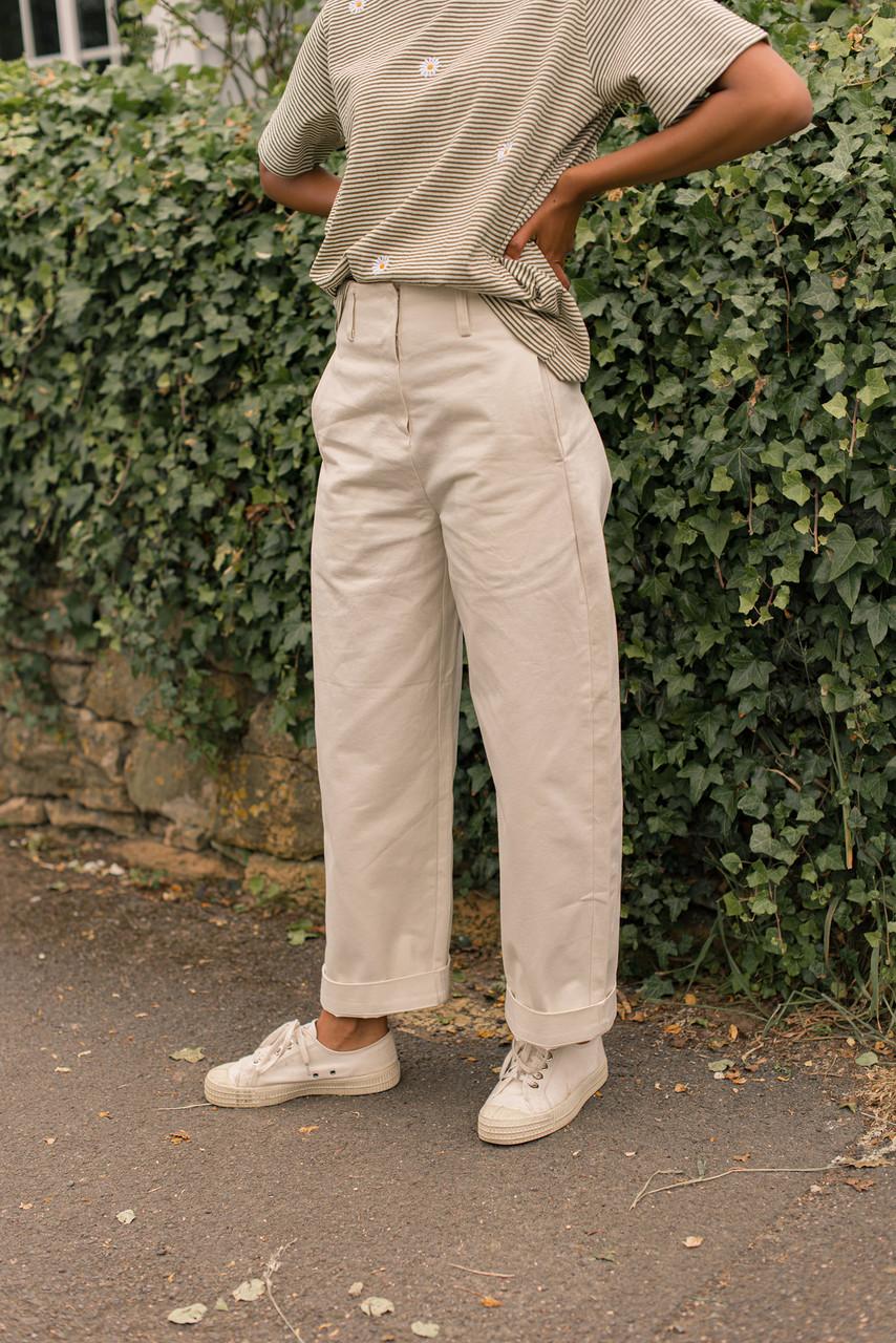 Boy Fit Balloon Pants, Cream