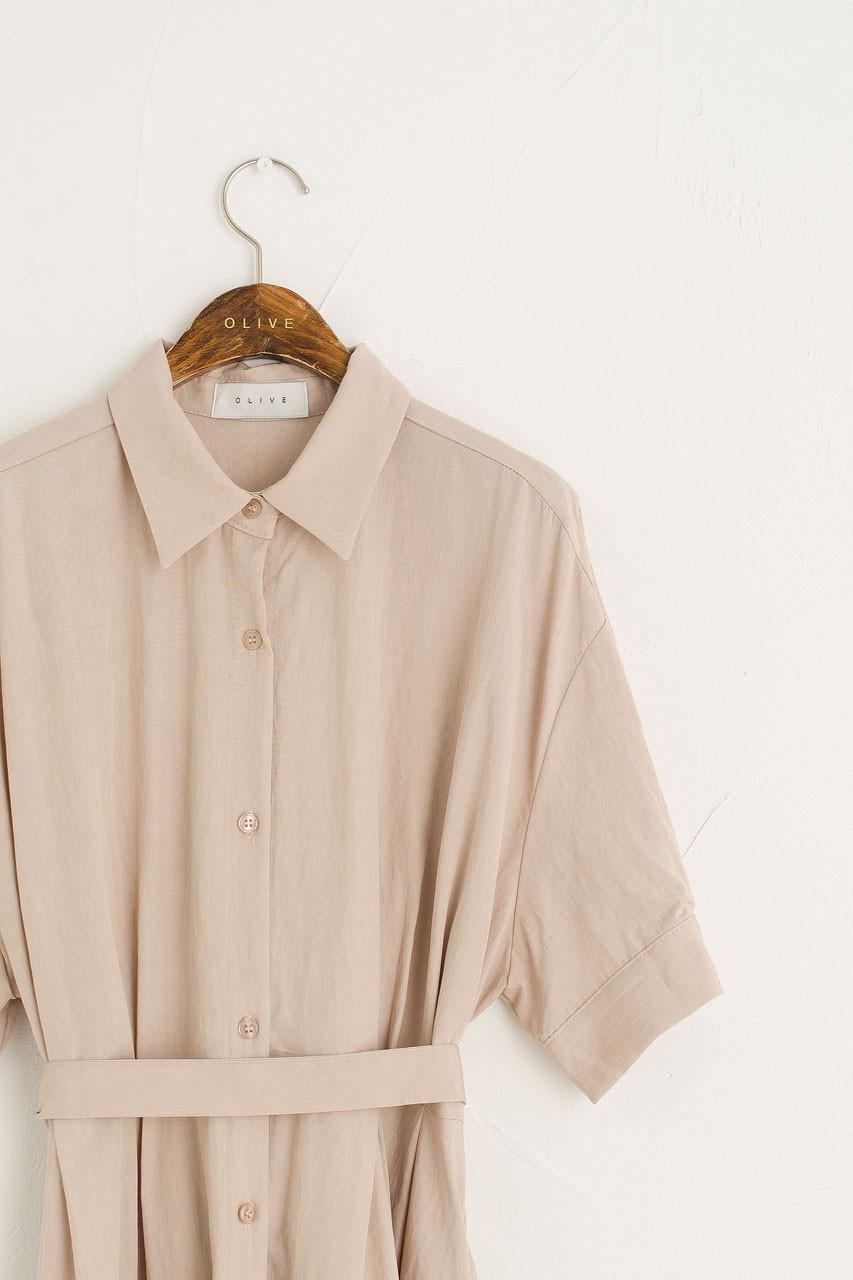 Venice Shirt Dress, Beige