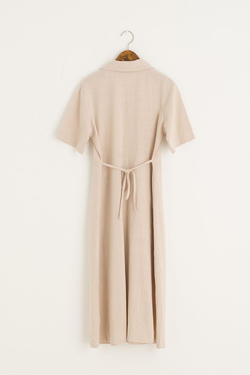 Zeta Pintuck Dress, Beige