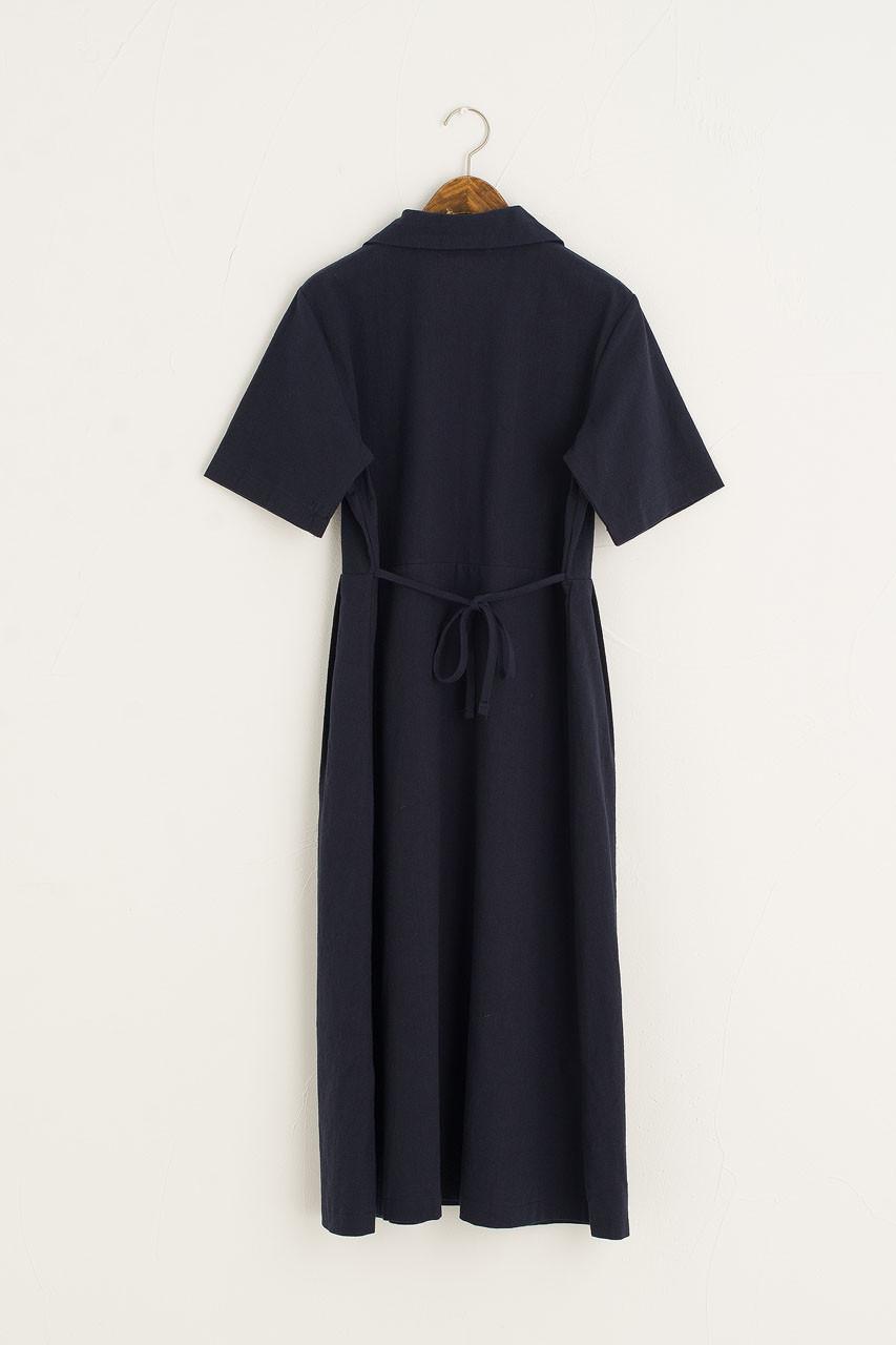 Zeta Pintuck Dress, Navy