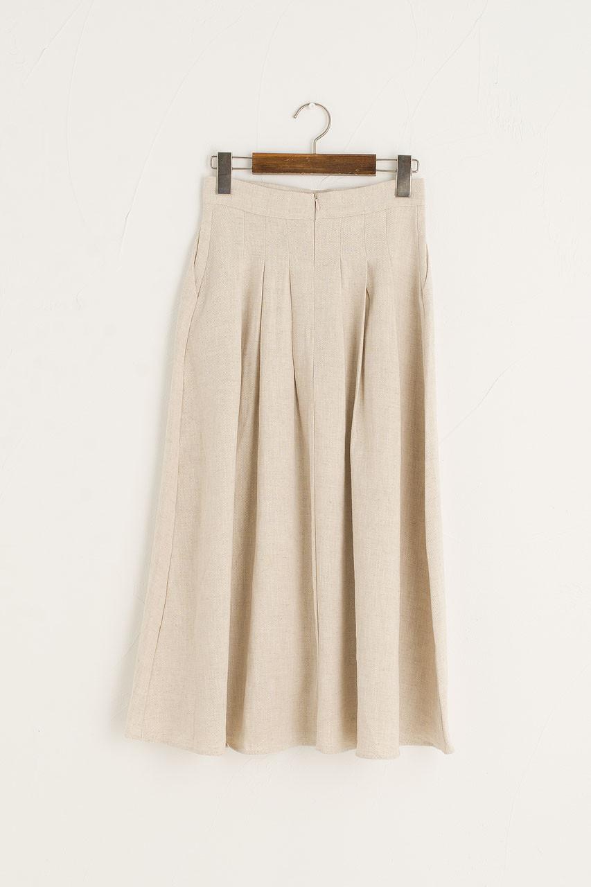 Jane Pleated Long Linen Skirt, Beige