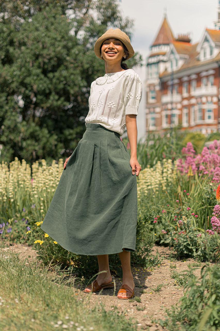 Jane Pleated Long Linen Skirt, Green