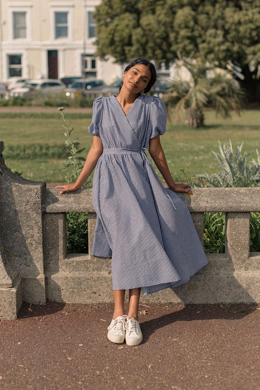 Hayley Gingham Wrap Dress, Navy