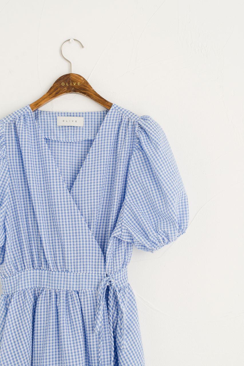 Hayley Gingham Wrap Dress, Blue