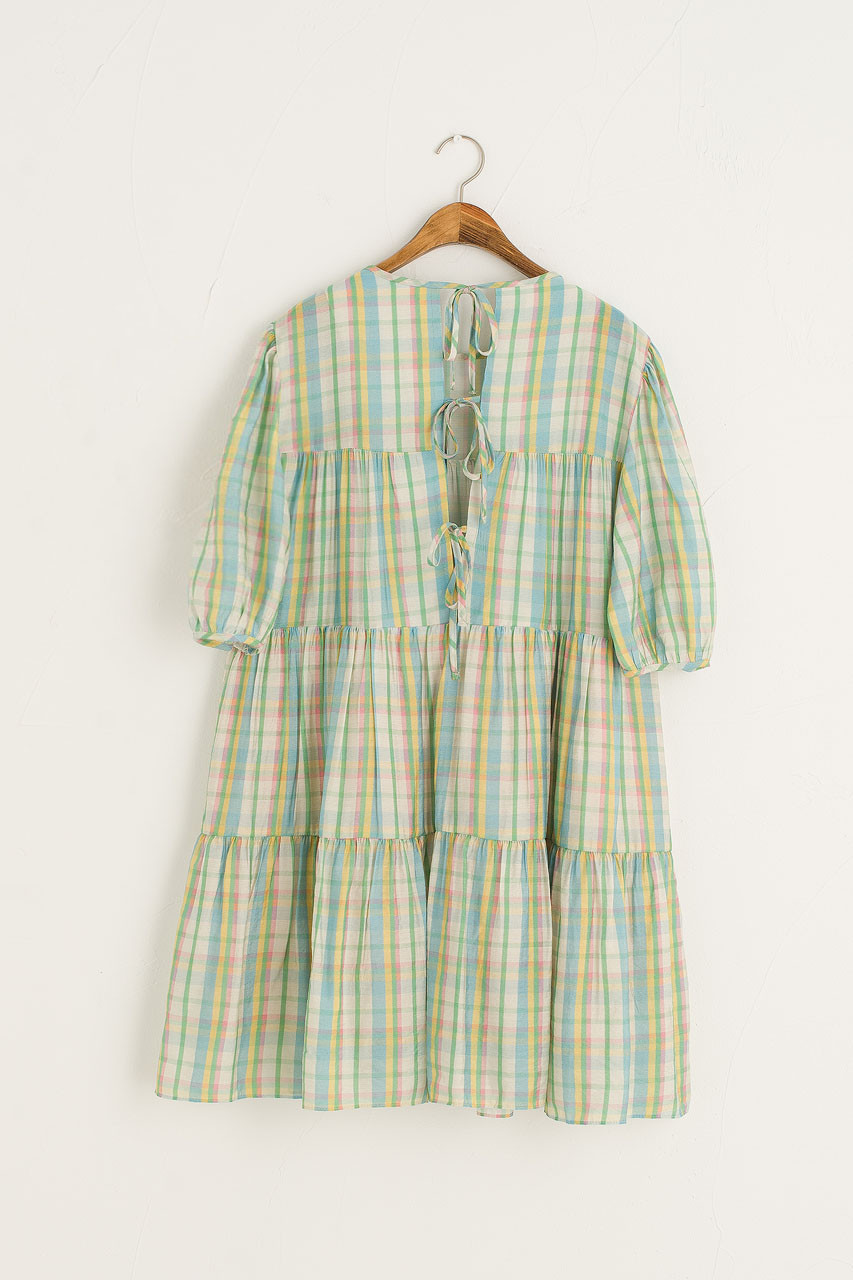 Mona Tiered Check Dress, Blue