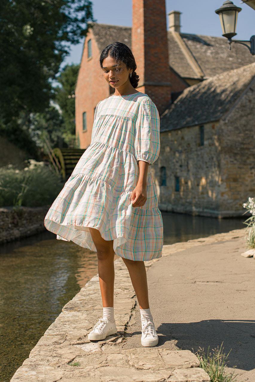 Mona Tiered Check Dress, Lilac
