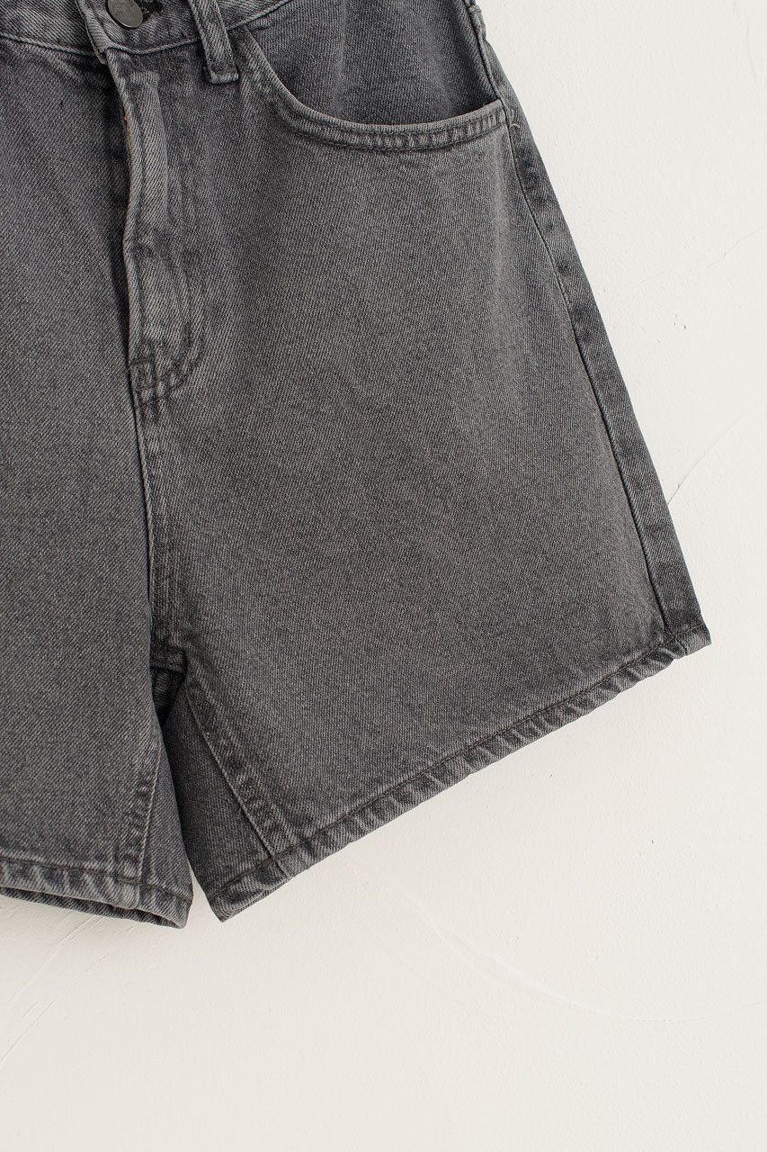 Button Washed Denim Short, Washed Black