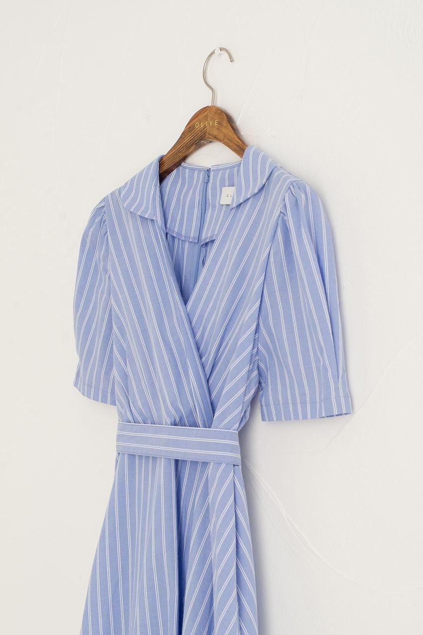 Hanako Stripe Wrap Dress, Blue