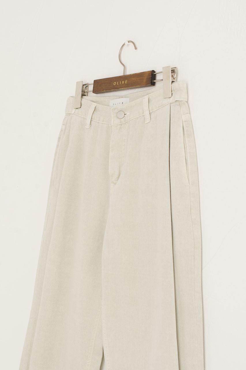 Button Waist Pintuck Pants, Sage