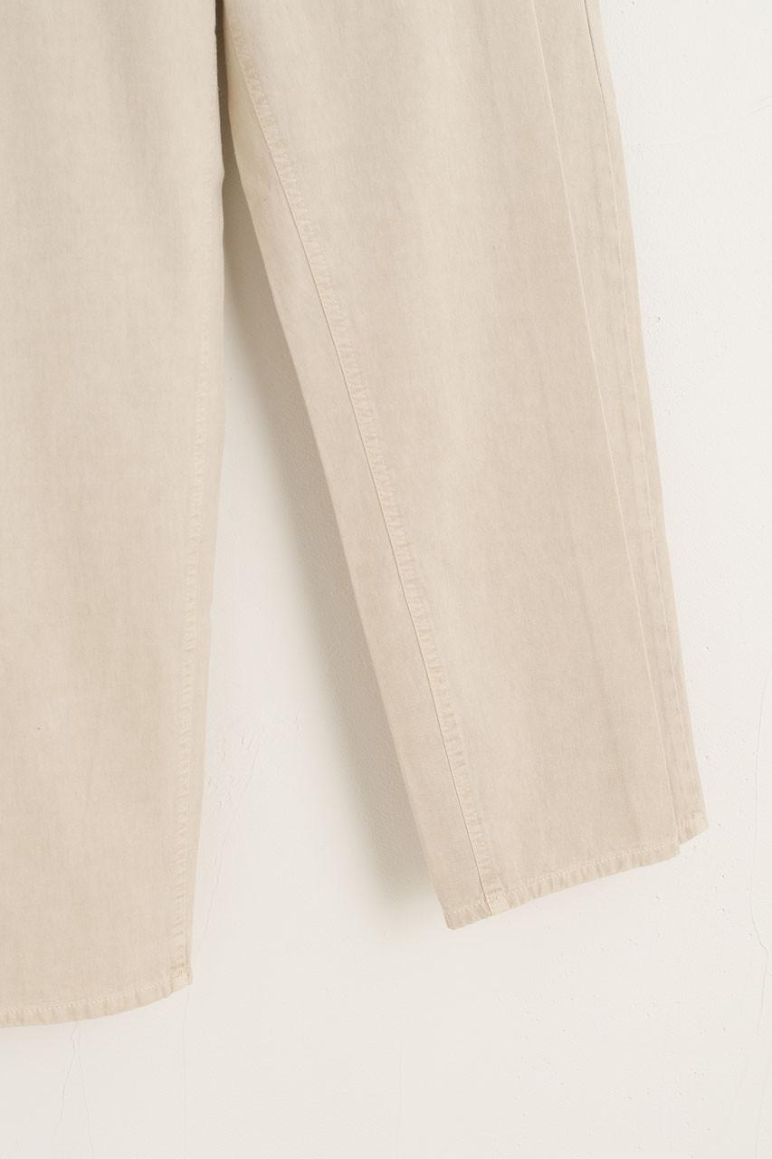 Button Waist Pintuck Pants, Beige