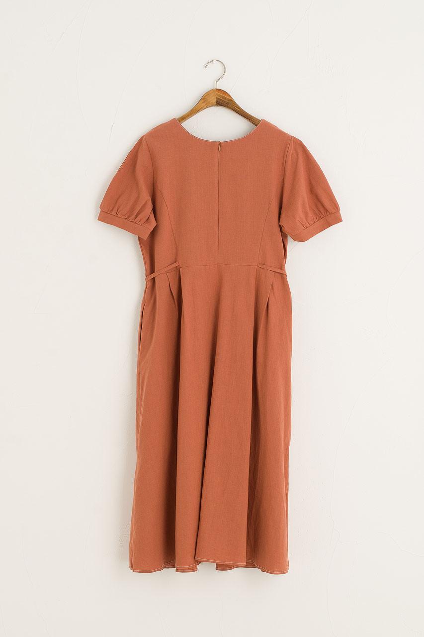 Takako Square Neck Dress, Brick