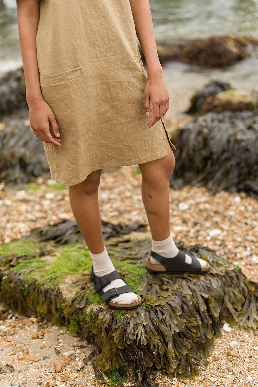 Twin Pocket Linen Mini Dress, Olive