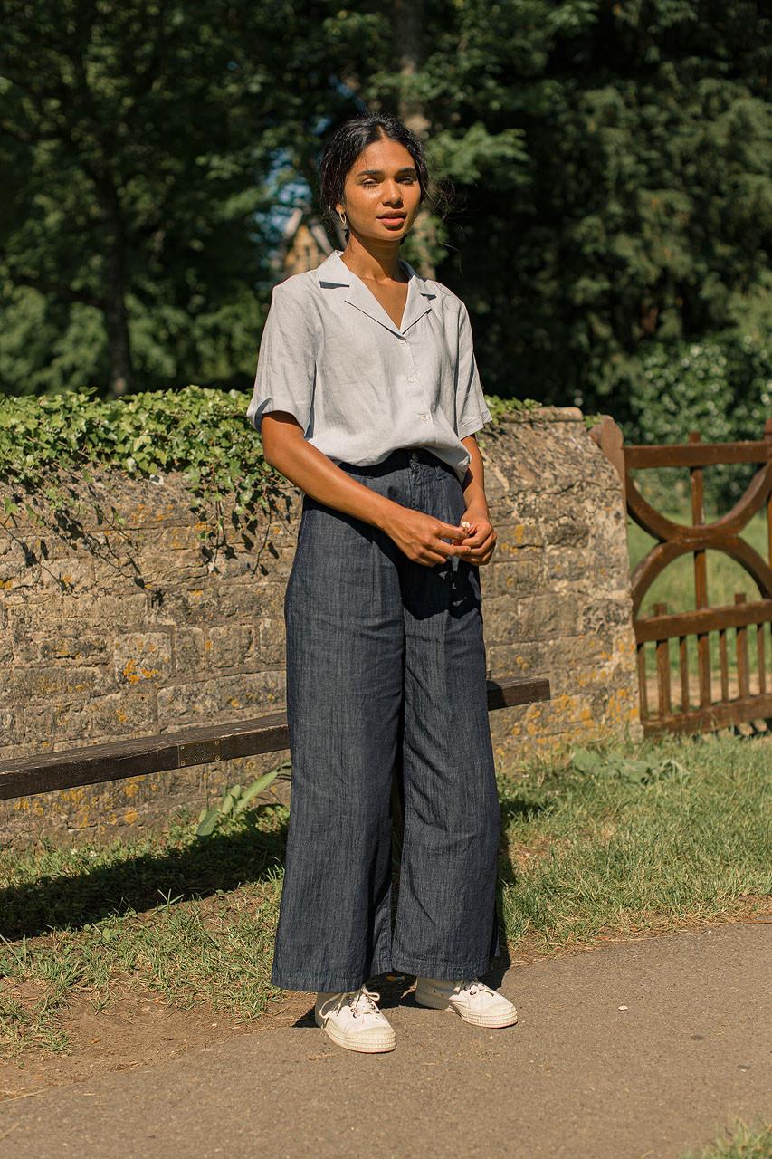 Shuri Wide Leg Pants, Indigo