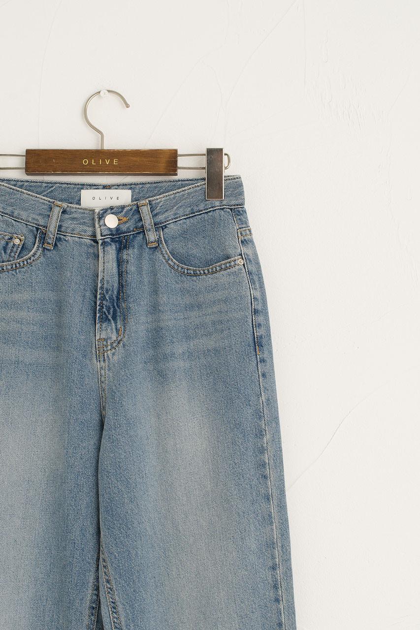 Washed Blue Wide Jean, Blue