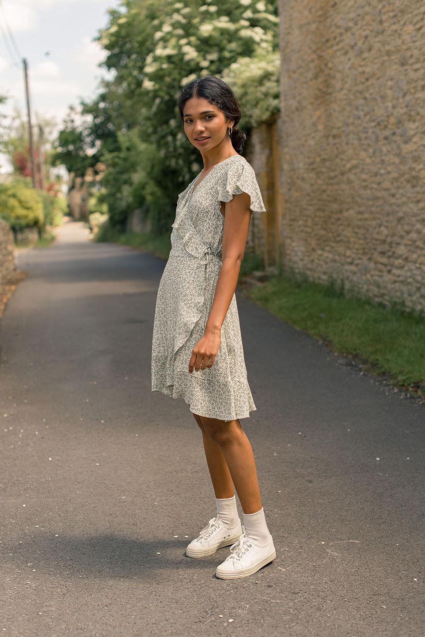 Shuri Wrap Dress, Sage