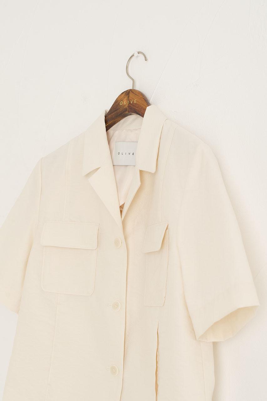 Twin Pocket Crop Single Jacket, Ivory