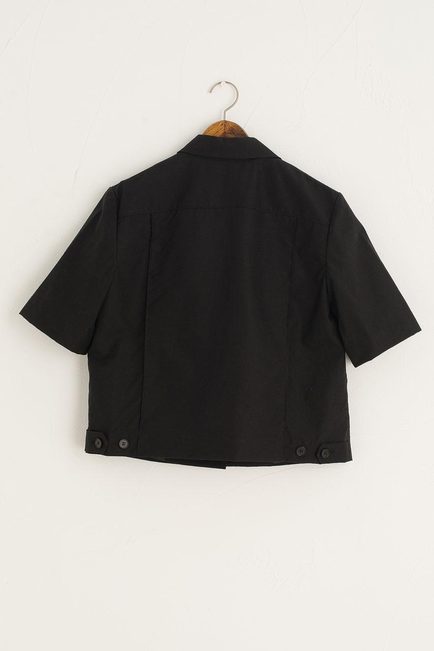 Twin Pocket Crop Single Jacket, Black