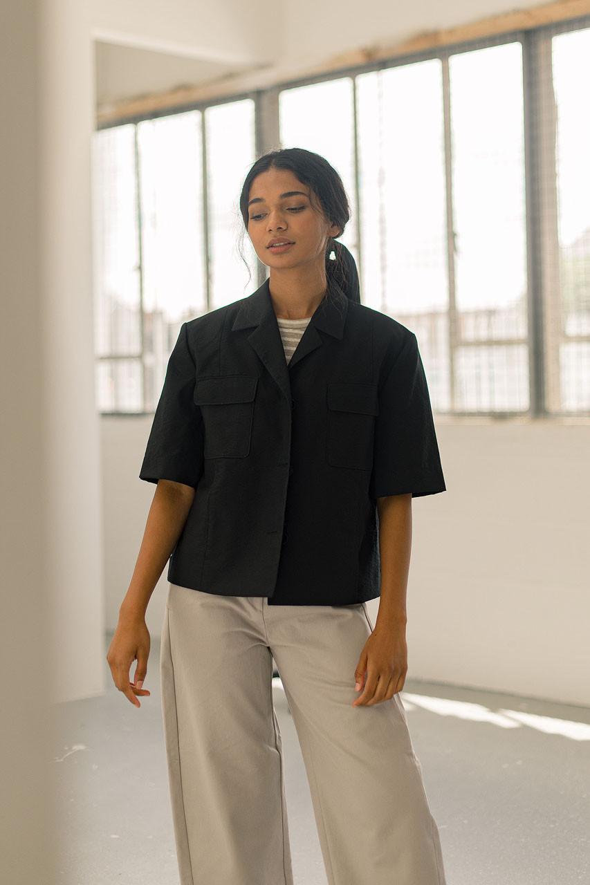 Brittany Crop Jacket, Black