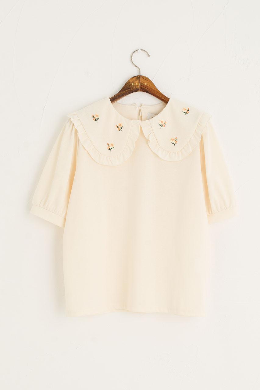Wild Daisy Embroidered Short Sleeve Tee, Ivory