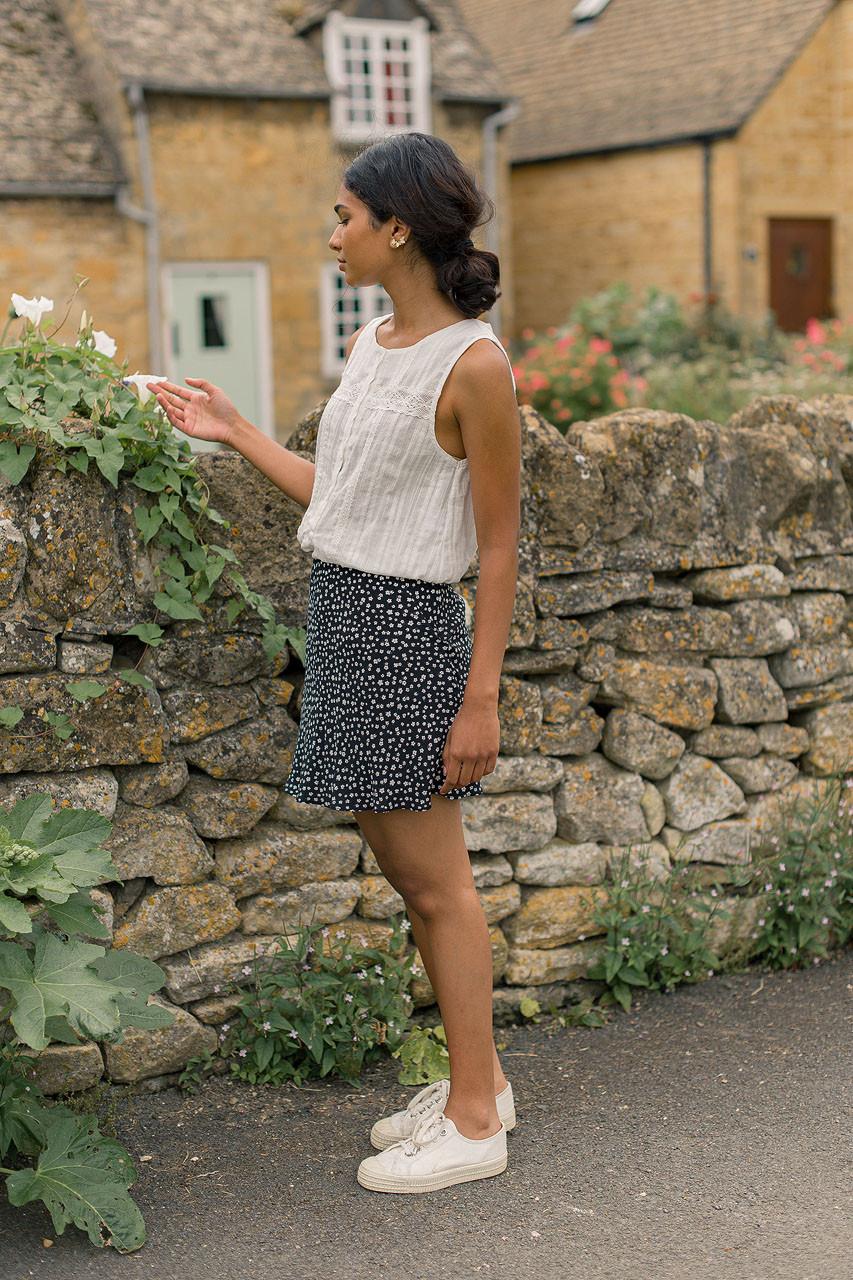Clover Mini Skirt, Black