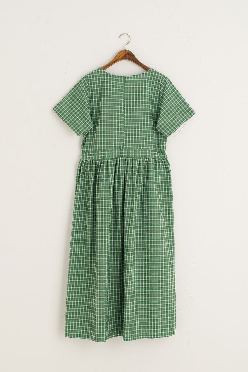 Kyoto Boxy Check Dress, Green