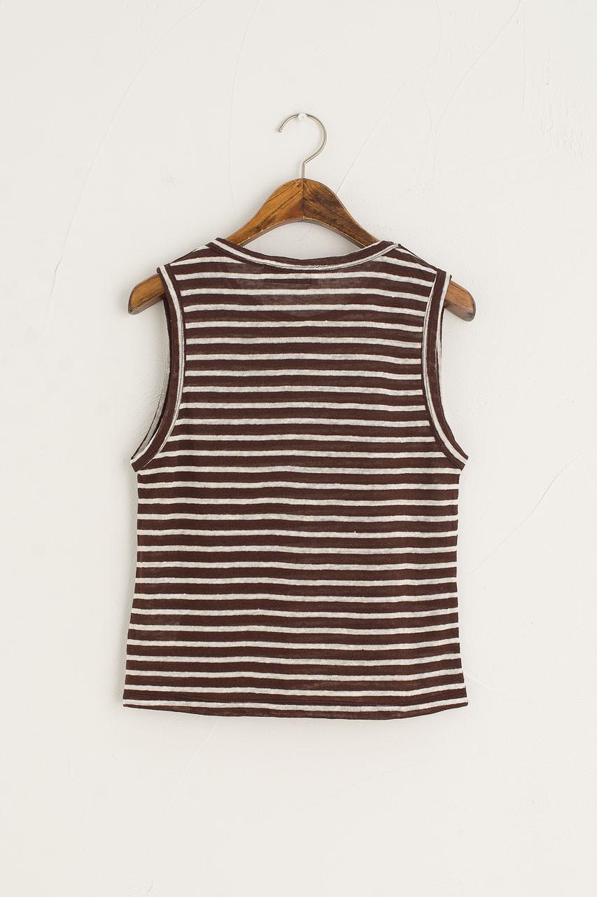 Linen Blend Summer Stripe Tank, Brown