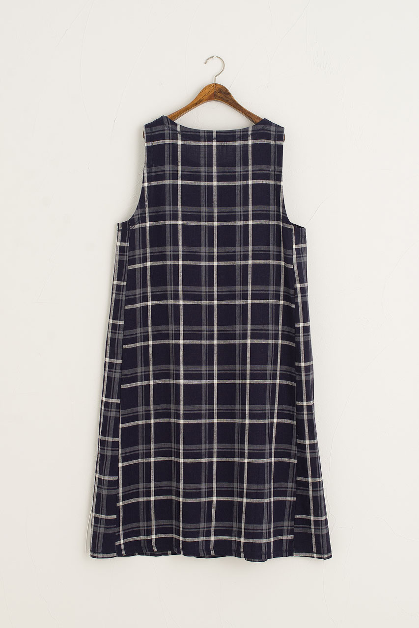 Tomoko Check Sleeveless Dress, Navy