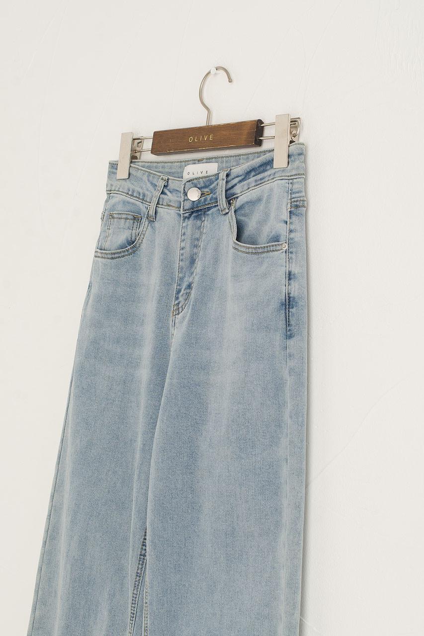 Slit Edge Wide Jean, Light Blue