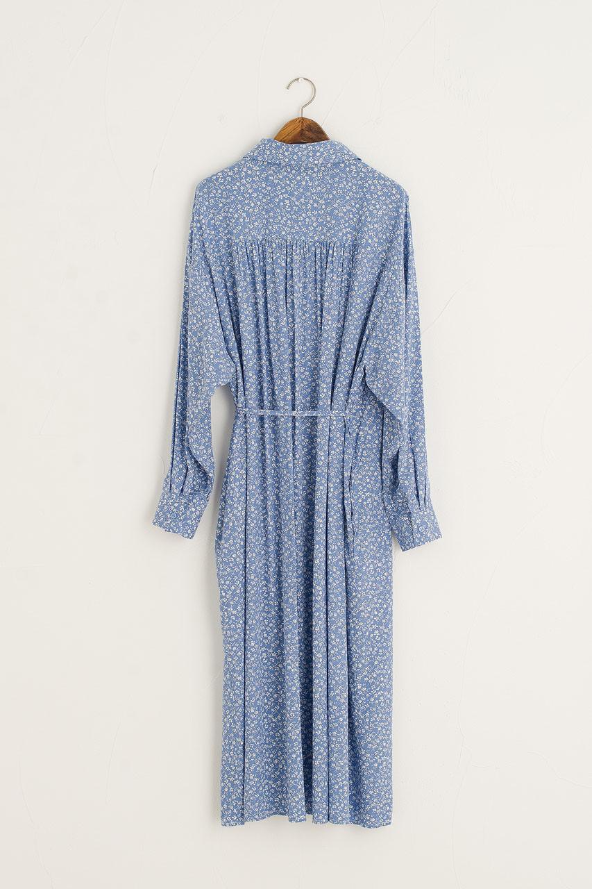 Anna Shirt Wrap Dress, Blue