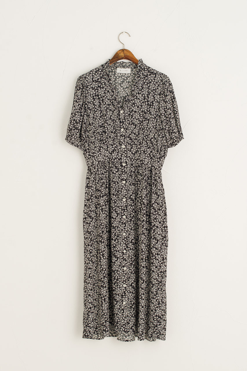 Jay Frill Neck Mid Length Dress, Black