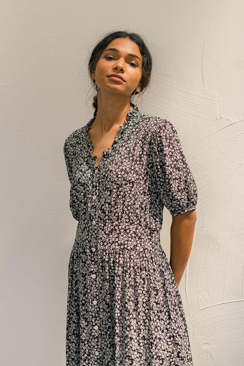Cerise Frill Dress, Black
