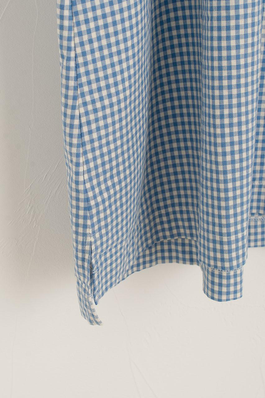 Henry Neck Gingham Boxy Dress, Blue