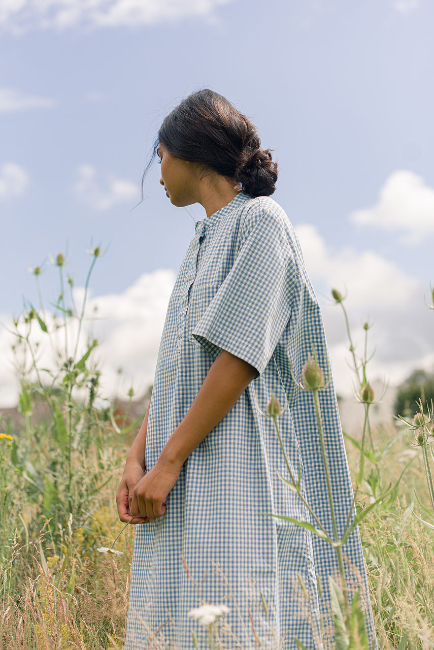 Gingham Henley Neck Dress, Blue