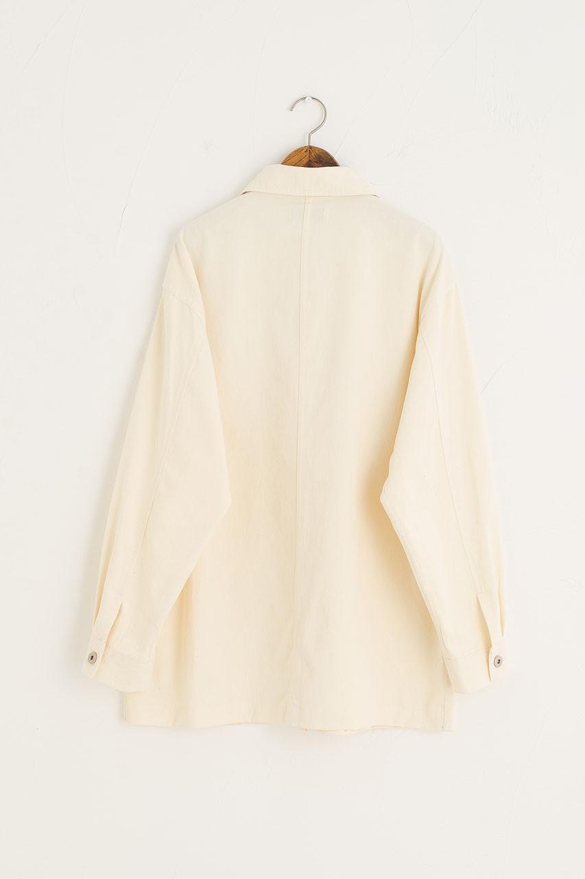 Light Weight Boxy Denim Jacket, Cream