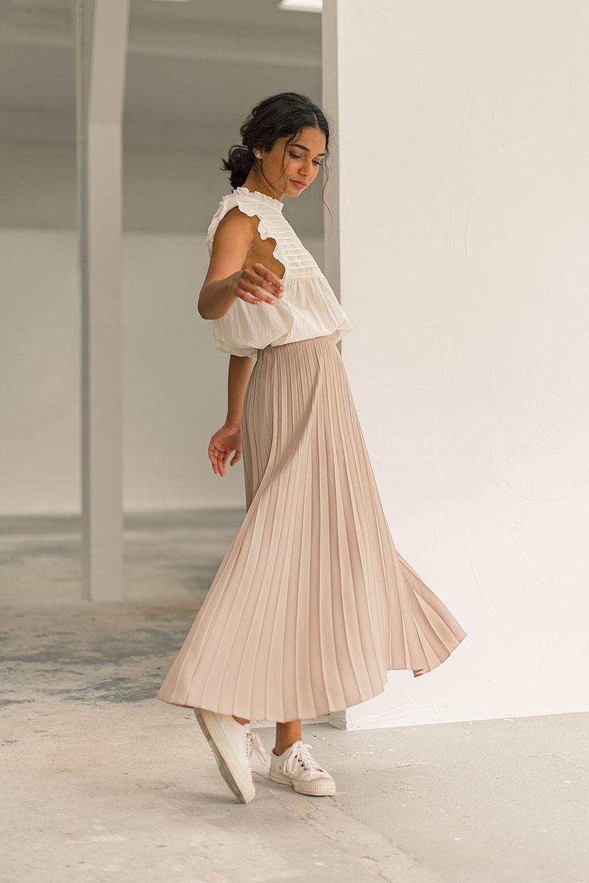 Unbalanced Mid Length Pleated Skirt, Beige