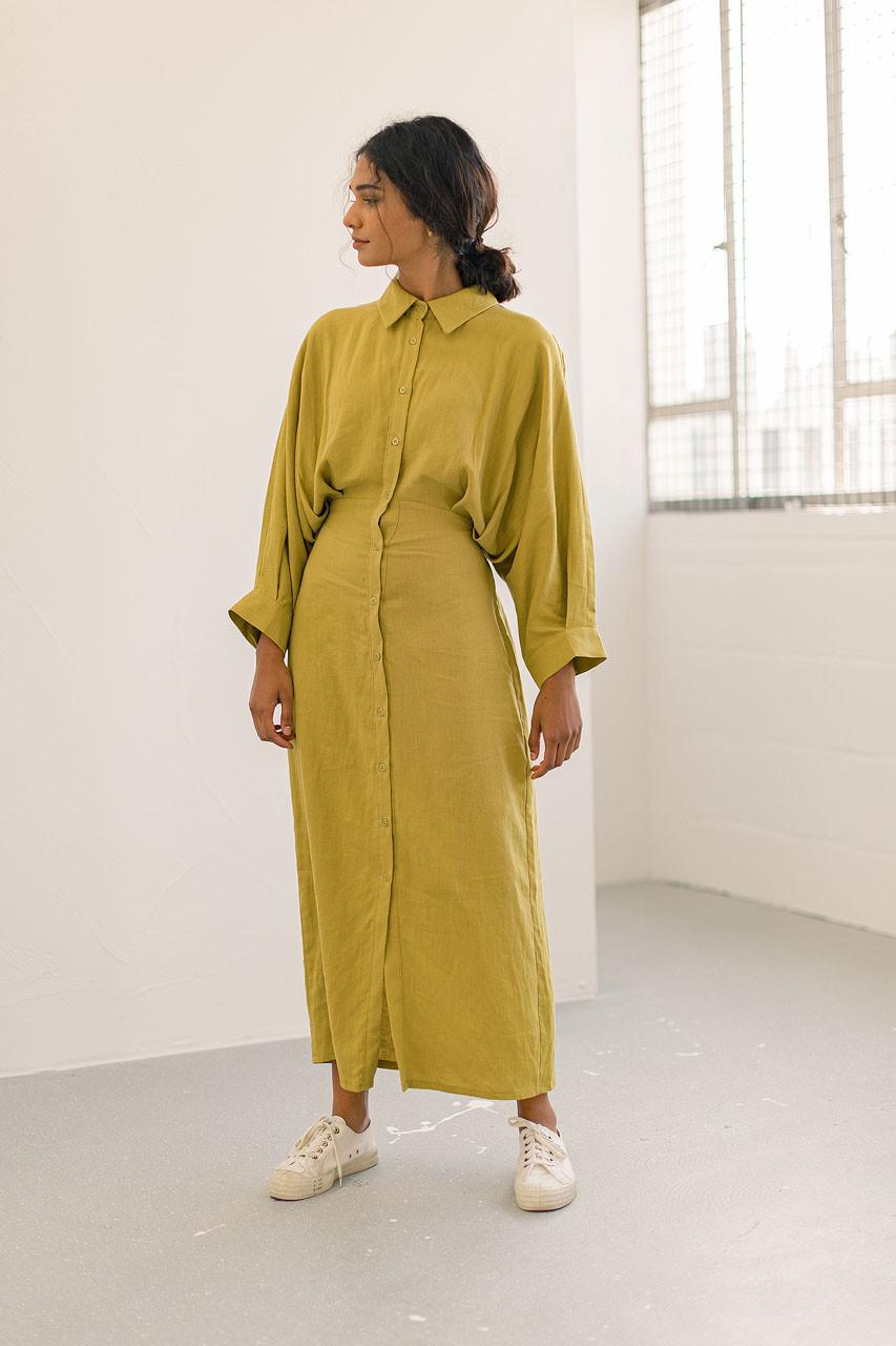 Tusci Shirt Dress, Mustard