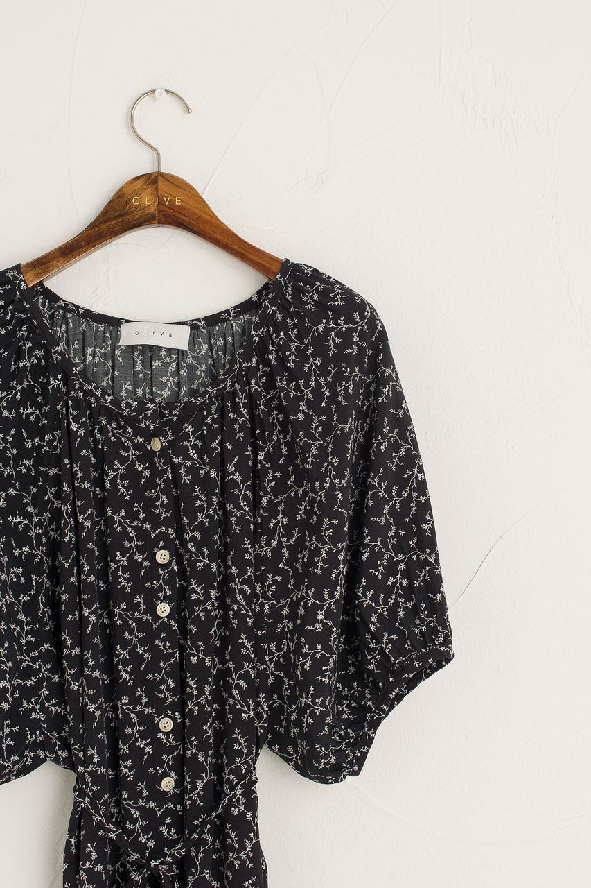 Koya Loose Raglan Dress, Black