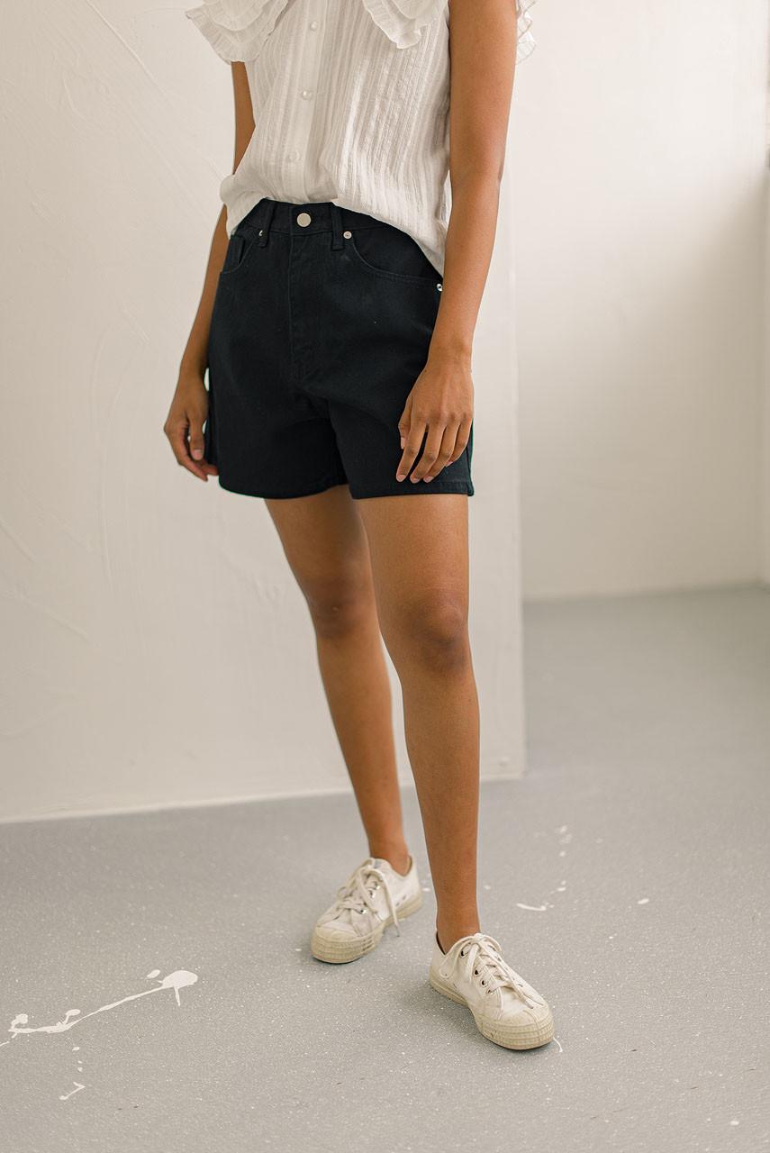 Denim Twill Shorts, Black