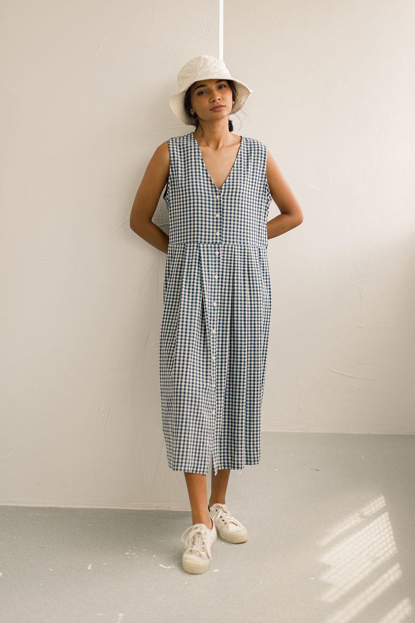 Hichko Gingham Dress, Blue